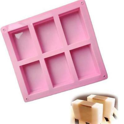 6 Cavity Rectangle Soap Bar Bake Mold Silicone Mould Tray Homemade Food Craft
