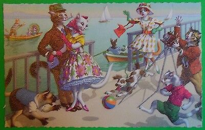 Hartung Humanized Cats/Clothes Postcard-Family Photo by Bay Pet Dog 4905 Belgium