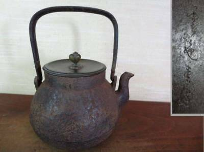 Japanese Antique KANJI old Iron Tea Kettle Tetsubin teapot Chagama 2188