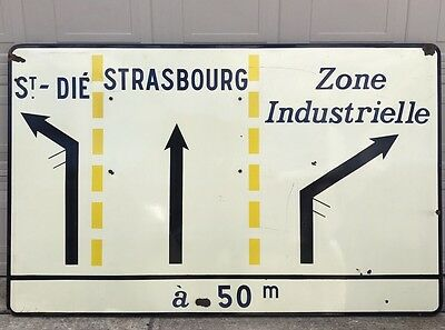Vintage French Porcelain Highway Directions Street Traffic Authentic Sign