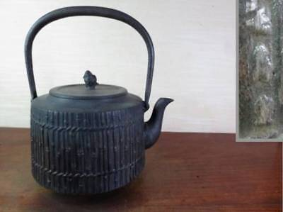 Japanese Antique KANJI old Iron Tea Kettle Tetsubin teapot Chagama 2189