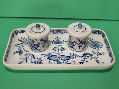 Meissen Blue & White Ink Well  (Inkwell) Blue Onion