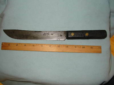 "Vintage OLD FILE Hand Made Iron Blade 8"" Butcher Knife"