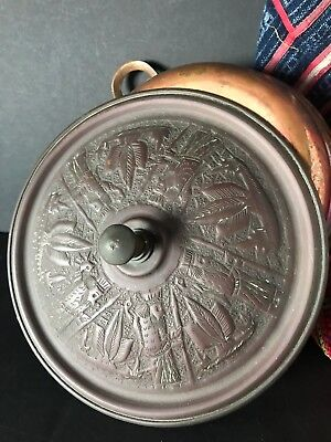 Old Persian Copper Pan with Ornate Lid …beautiful collection item