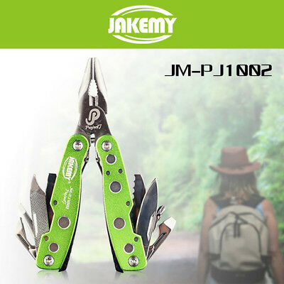 9 in 1 Jakemy Green Folding Pocket Swiss Army Knife Military Survival Multi Tool