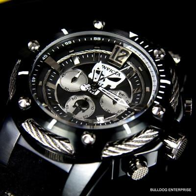 Invicta Marvel Punisher 52mm Chronograph Black Limited Edition Rubber Watch New