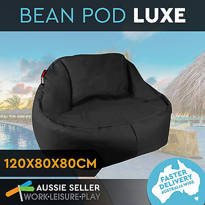 BeanPod Chair Couch Sofa Bean Bag Cover Waterproof Indoor Outdoor Black Lounge
