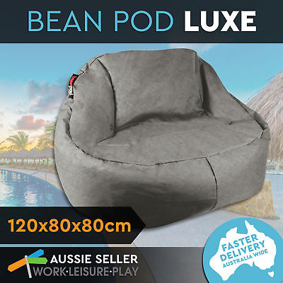 BeanPod Chair Couch Cafe Bean Bag Cover Waterproof Indoor Outdoor Charcoal