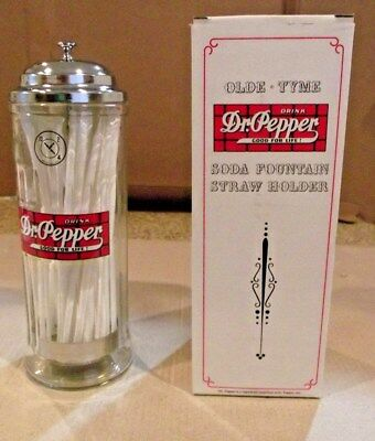 Mint Still In The Original Box Huge Dr Pepper Straw Dispenser Very Heavy Glass