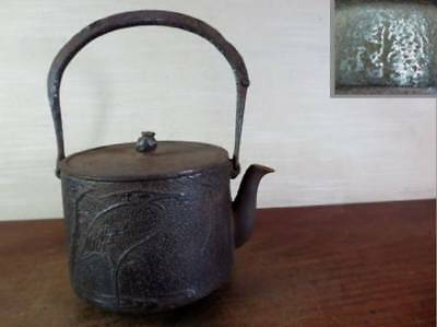 Japanese Antique KANJI old Iron Tea Kettle Tetsubin teapot Chagama 2195