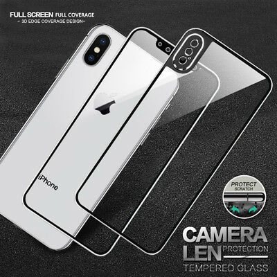 For iPhone X XS Max XR Front & Back Tempered Glass Screen Protector Cover Film