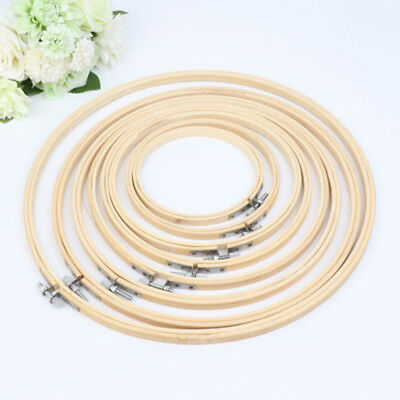 LC_ 13-34cm Bamboo Wooden Cross Stitch Machine Embroidery Hoop Ring Sewing Cra