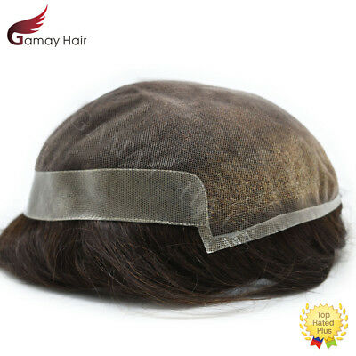 Mens Toupee French Lace Poly Hairpiece Indian Hair Bleached Replacement Systems