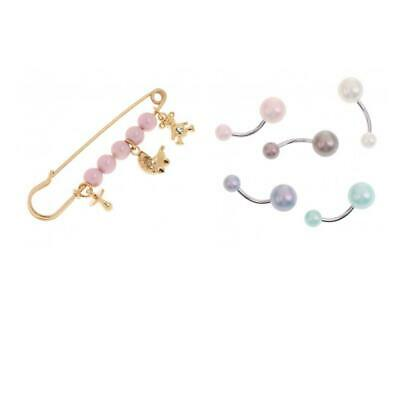 6Pcs Cute Crystal Pin Brooch Body Piercing Button Belly Navel Ring Bar Gifts