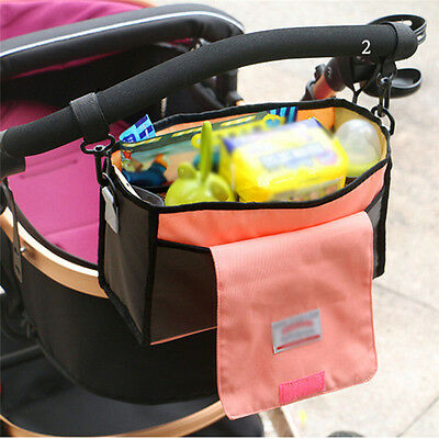 Baby Trolley Buggy Stroller Bottle Holder Mummy Bag Organizer Storage Nylon Bag