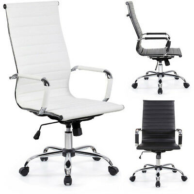 Adjustable Modern Ergonomic Office Chair WHITE BLACK PU Leather High Medium Back