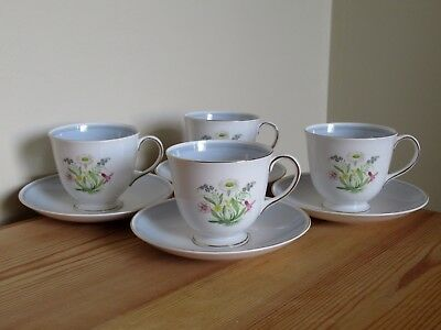 4 Vintage Susie Cooper Romance Blue Floral Teacup And Saucer Duos
