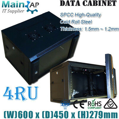 NETWORK 4U 4RU 19IN 450mm DEEP WALL MOUNT SERVER DATA RACK