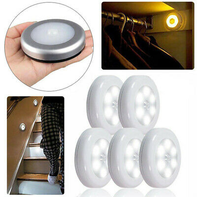 5x Led Wireless Night Light Motion Auto Sensor Smart Wall Cabinet Stair Lamp