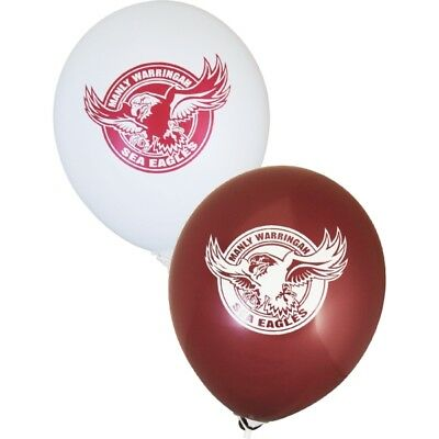 Manly Sea Eagles Official NRL Balloons x 6 Double Sided FREE POST