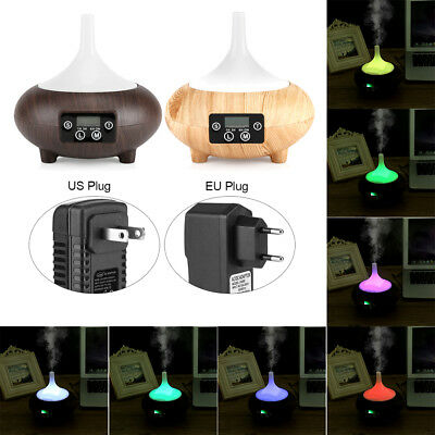 220ml LCD Clock Color Changing LED Ultrasonic Air Humidifier Oil Aroma Diffuser