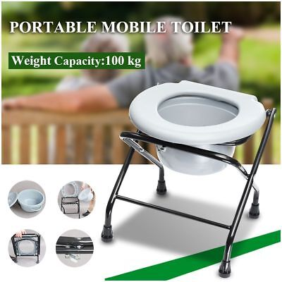 Lightweight Folding Commode Chair Potty Chair Portable toilet Disability Aid NEW