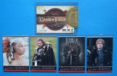LOT/Set *GAME Of THRONES* GoT Season 1 PROMO Cards P1-P4 + Case TOPPER #'ed/900