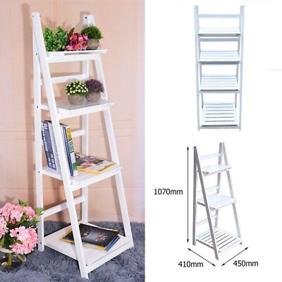 Vintage Wooden Wall Rack Leaning Ladder Shelf Unit Bookcase Stand Display Flower