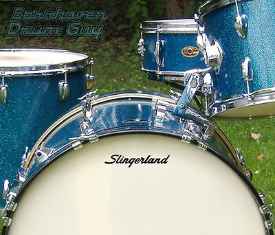 Slingerland, 60s Vintage, Repro Logo - Adhesive Vinyl Decal, for Bass Drum Head
