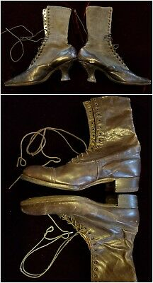 Lot of 4 High Lace Up Antique Victorian Shoes Women's One Pair Two Mismatched