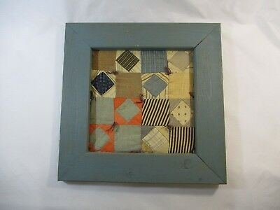 """Vtg. Quilt Square Patchwork Piece In Blue Wooden Frame Wall Hanging 14"""" x 14"""""""