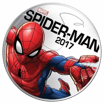 2017 Marvel Spider Man Light Up Silver Plated Coin 50 Cents Fiji