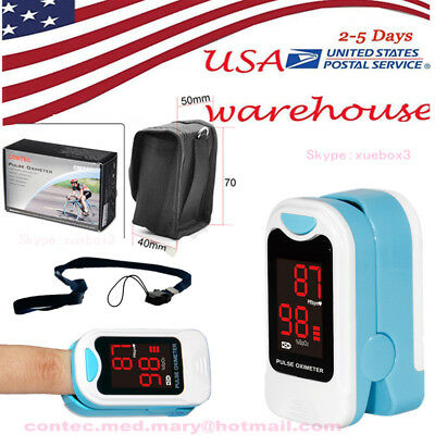 USA Finger Pulse Oximeter Blood Oxygen SPO2 Pulse Rate Heart Rate Monitor+Pouch