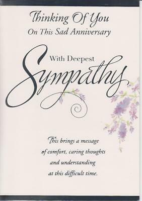 thinking of you on this sad anniversary with deepest sympathy sympathy card - Deepest Sympathy Card