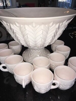 Vintage Jeanette shell Pink Milk Glass Punch Bowl 12 Cups with  Pedestal EUC