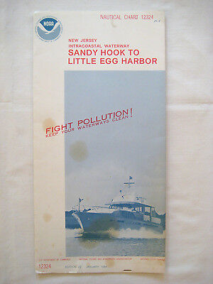 #3 Vintage 1982 NOAA NAUTICAL CHART #12324 Sandy Hook to Little Egg Harbor