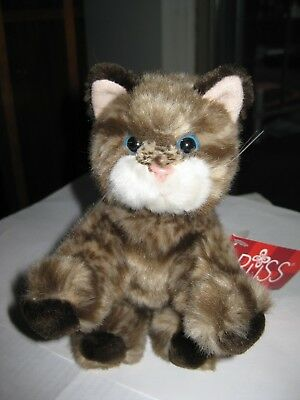 Russ Berrie Dark Brown Tabby Kitty Cat Kitten Whiskers Plush Stuffed