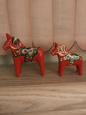Vint. Swedish Dala horse hand carved folk art figurine Orange NILS OLSSON-5 1/2""