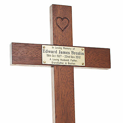 "17"" Tall Heart Mahogany or Oak Wooden Memorial Cross and Plaque Grave Marker pet"
