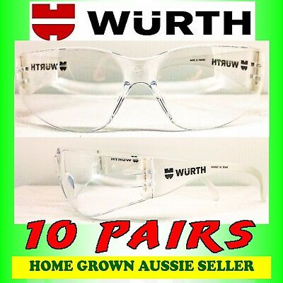 Wurth Safety Glasses 10 Pairs – Clear, Uv Protection, Polycarbonate Free Post