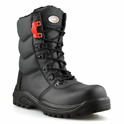 Mens Leather Waterproof Safety Steel Toe Cap Combat Work Ankle Boots Shoes Size