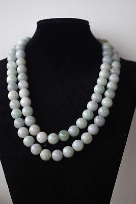 "13mm*40"" Certified natural untreated grade A Burmese jadeite jade beads necklace"