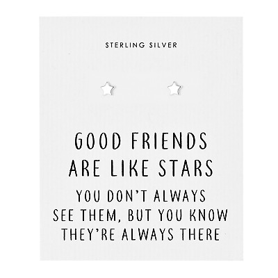 Sterling Silver Friendship Quote Star Earrings
