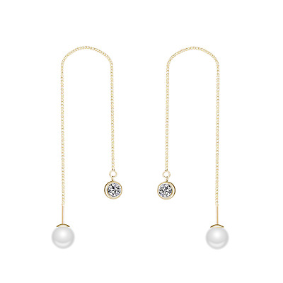 Gold Pearl Thread Earrings Created with Swarovski® Crystals
