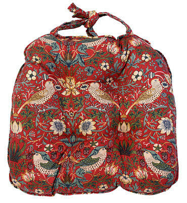 William Morris Gallery Red Strawberry Thief Minor Piped Seat Pads