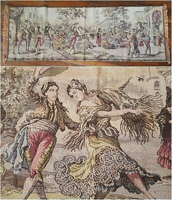 Antique 1920s Italian Tapestry Spanish Scene Dancing Couple Muted Colors