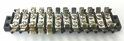 12-141T, 12 Position Terminal Block Strip 20A @ 250V AC W/Multi Tab Connections