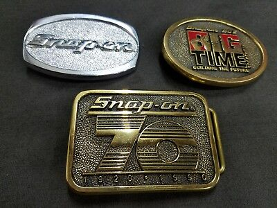 Vintage Lot  Of 3 SNAP ON TOOLS Belt Buckles  Solid Brass BTS Brassworks