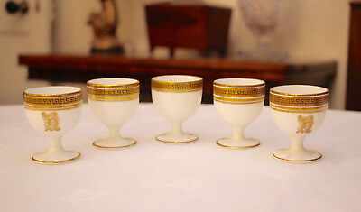 Collection of Antique Royal Cauldon Greek Key Egg Cups, Monogrammed, Osler Lond.