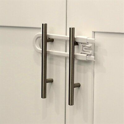 Child Safety Sliding Cabinet Locks (4 Pack) - Baby Proof Knobs, Handles, & Doors